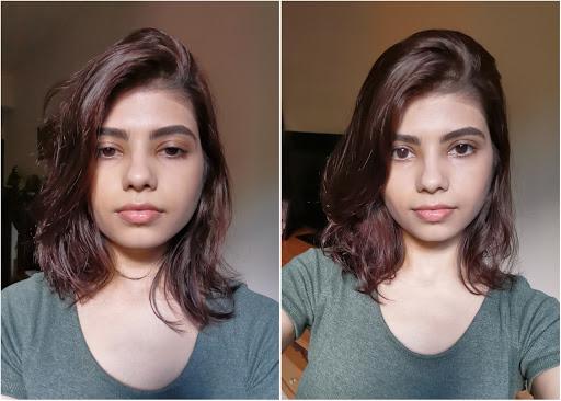 (trước và sau khi chụp selfie chỉnh góc)