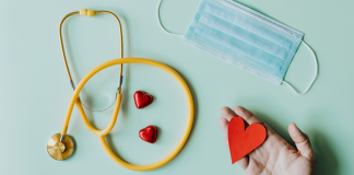 face mask stethoscope and hearts